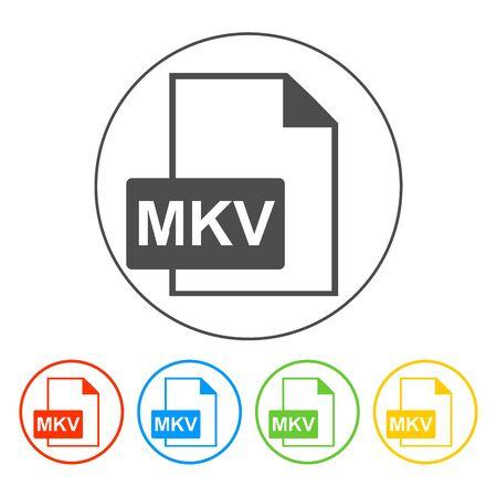 mov: mkv file icon. Flat vector illustrator Eps 10