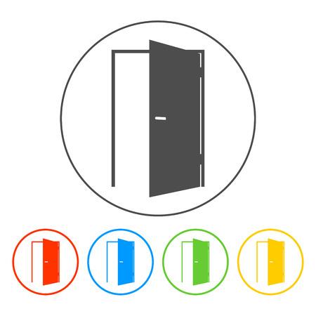 ドアのアイコン。平らなベクトル イラストレーター Eps 10