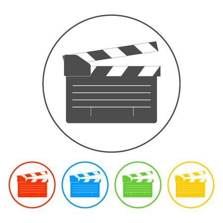 movie clapper: ciak film, movie maker vettoriale. Illustratore