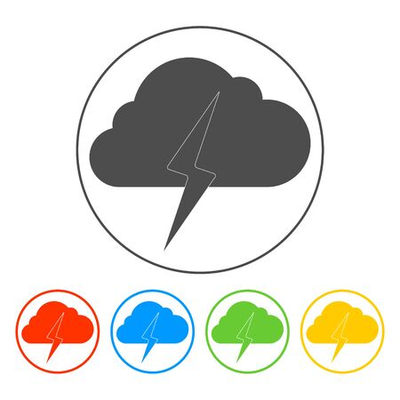 Lightning bolt weather flat line icon infographic illustration template for web or brochure. Vector