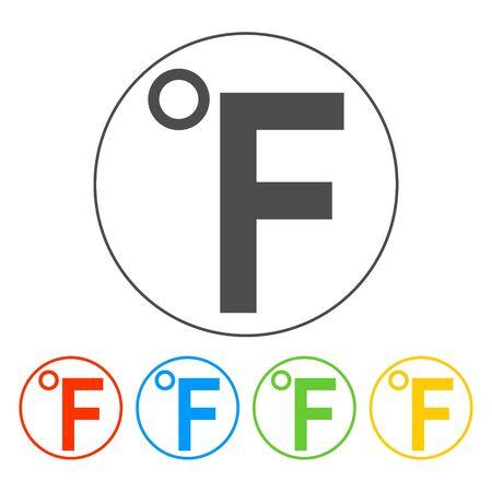 fahrenheit: Vector icono Fahrenheit. Illustrator EPS 10 Flat