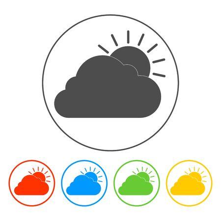 rooster at dawn: sole icona cloud. Appartamento illustratore vettoriale EPS