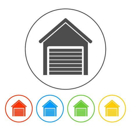 open garden gate: Garage icon. Flat vector illustrator EPS 10