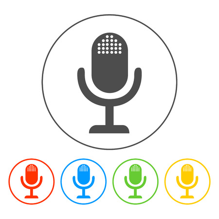 oldie: microphone web icon, flat design vector EPS Illustration