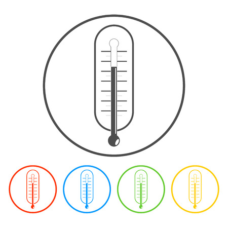 warmly: thermometer vector icon illustration. Flat style EPS