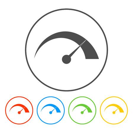 スピード メーターのアイコン フラット ベクトル イラストレーター Eps をベクトルします。