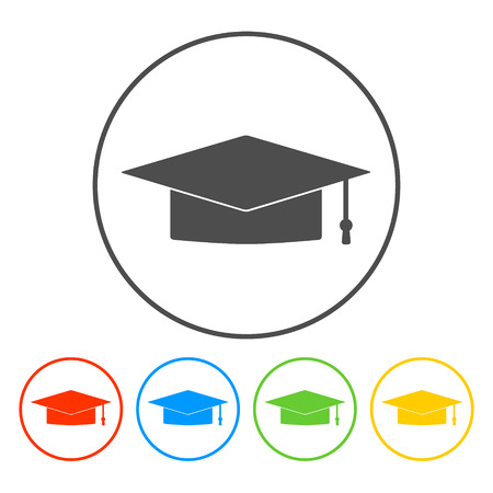 卒業の帽子アイコン。平らなベクトル イラストレーター Eps