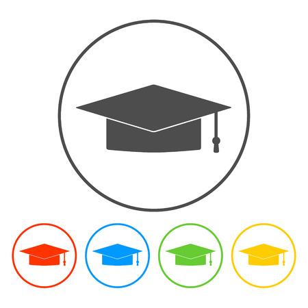 Graduation cap icon. Flat vector illustrator Eps
