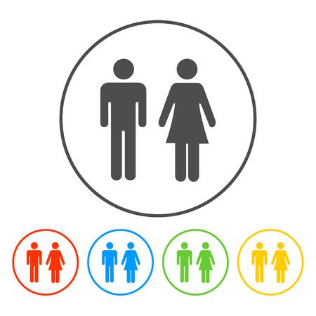 ベクトルのアイコンを男と女、トイレのサイン、トイレ アイコン、最小限のスタイル、絵文字