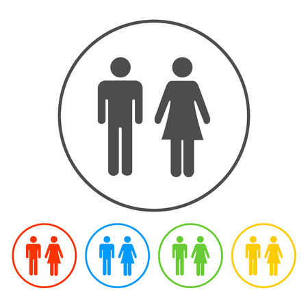 toilet: Vector man and woman icons, toilet sign, restroom icon, minimal style, pictogram