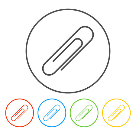 Paper clip icon on a white background. Vector illustration. Vectores