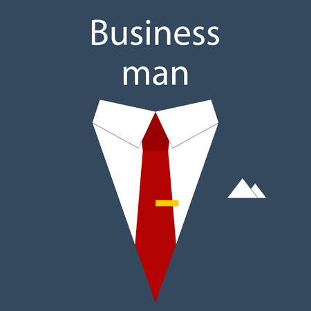 superman: Flat design modern vector illustration poster concept of businessman suit with sample text symbolizing success leader person. Isolated on stylish color background. Illustration