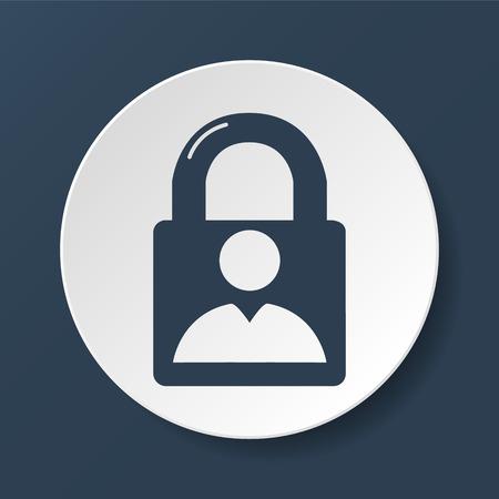 lock icon and man.  Vector flat Illustrator Vector