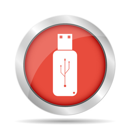 10 key: usb icon - vector on a blue flat button. Illustration
