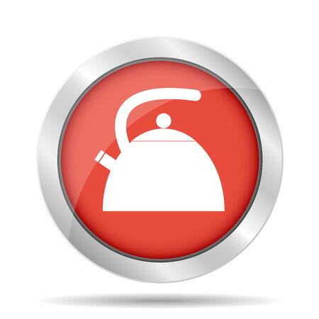 electric tea kettle: Kettle. Single flat icon on the circle. Vector illustration