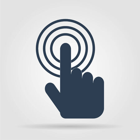 Sign emblem vector illustration. Hand with touching a button or pointing finger