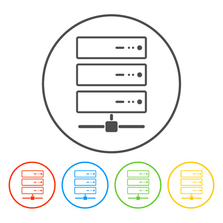 Computer Server icon, flat design.