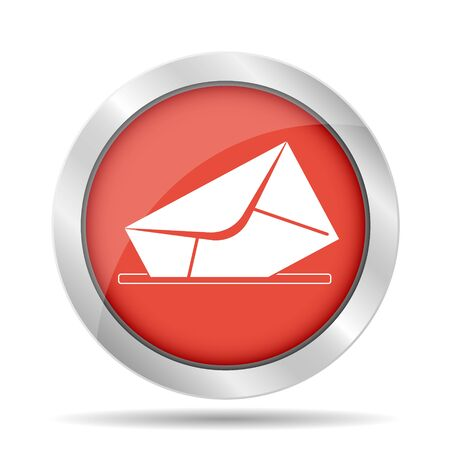 envelope mail symbol on red background. Vector Vector