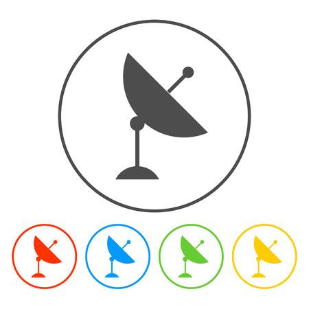 world receiver: Vector satellite dish icon.  Illusrator EPS 10 Illustration