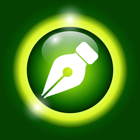 classic authors: Ink pen Icon Isolated on green Background.