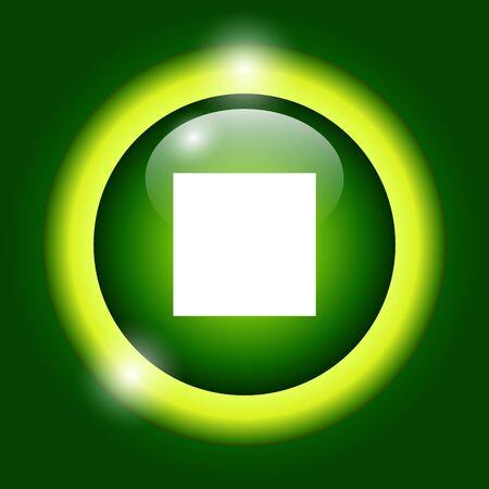 Glossy multimedia icon stop Vector  Vector