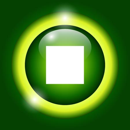multimedia icon: Glossy multimedia icon stop Vector EPS flat Illustration