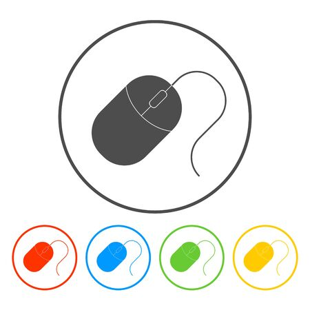 computer mouse icon: Computer mouse icon, vector illustration. Flat design style