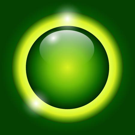 shiny button: Shiny button green glossy metallic, vector illustration Illustration