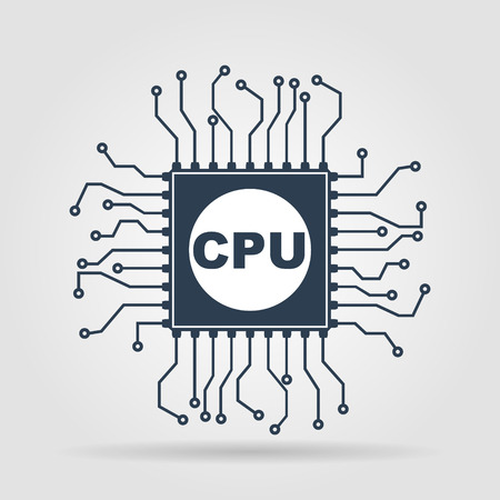 chipset: Circuit board  icon. Technology scheme square symbol. Illustration