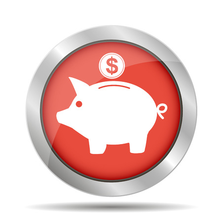 Vector piggy bank icon. Flat Vector illustration