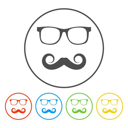 Mustache and Glasses vector icon. Flat EPS