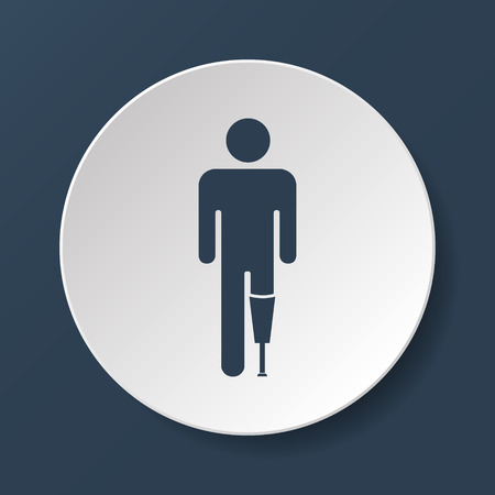artificial leg: prosthesis icon, Vector flat Illustration