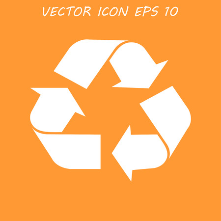 white color: Recycle sign in white color - isolated. Illustration
