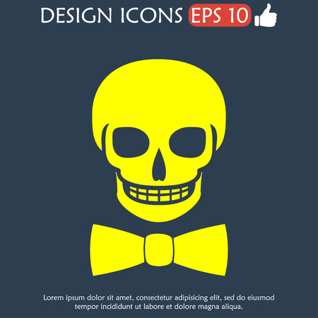 skull icon: Skull icon isolated, tie.  Illustration