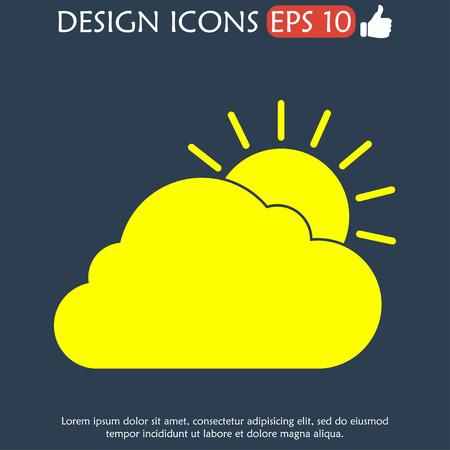 rooster at dawn: sole icona nuvola. Appartamento illustratore vettoriale