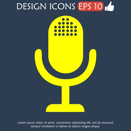 entertaining presentation: microphone web icon, flat design