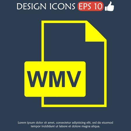 wmv: wmv file icon. Flat vector illustrator