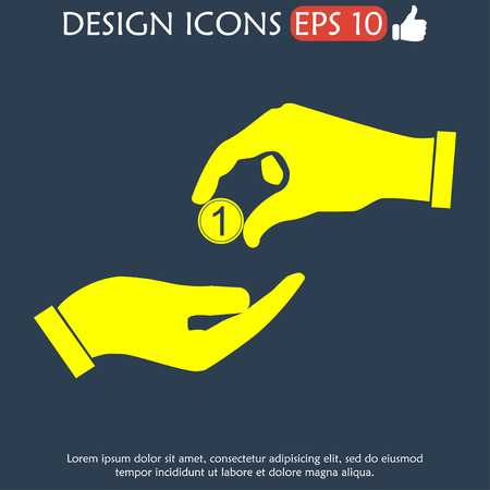 alms: Flat icon, give alms