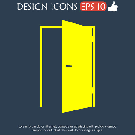 approach: Door icon. Flat vector illustrator  Illustration