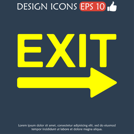 exit icon: Exit icon - vector illustration. Flat design style