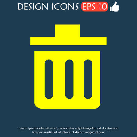 illustrator  vector: Trash can icon. Vector Illustrator.