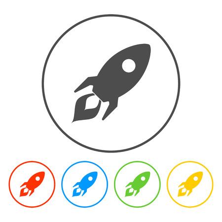 Rocket icon. Flat design style