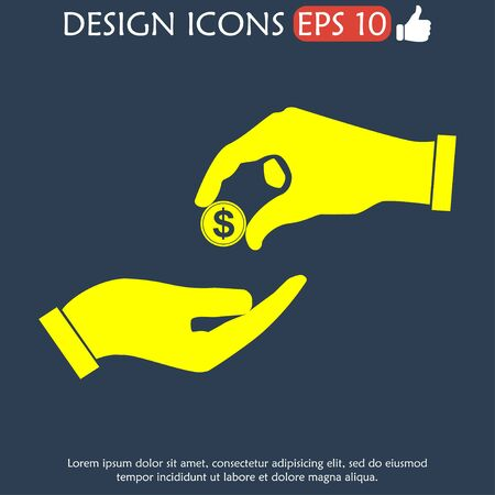 avarice: Flat icon, give alms