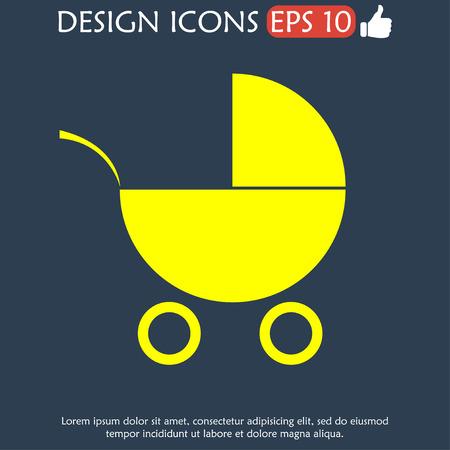 pram: Pram icon.  Illustration