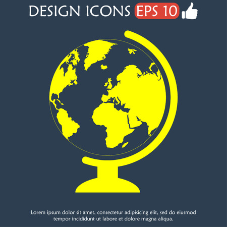 geography school earth globe web icon.  Vector