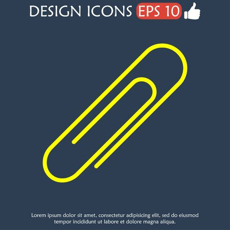 Paper clip icon. Flat design style. EPS