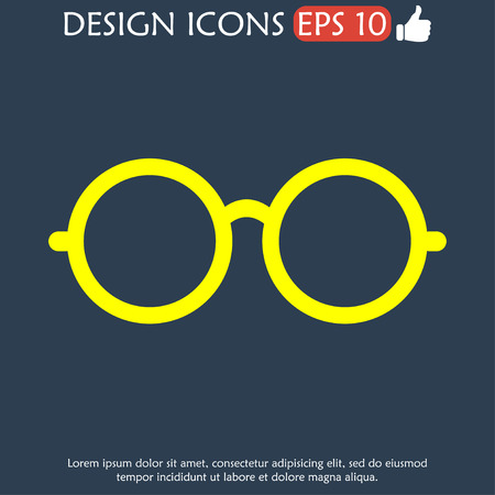 illustrator 10: Glasses icon. Flat vector illustrator Eps  10