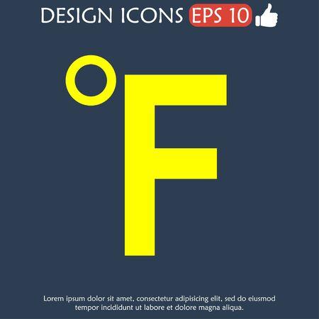 fahrenheit: Vector icon Fahrenheit. Flat Illustrator EPS 10 Illustration
