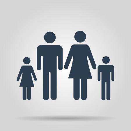 socialize: family icon. Flat design style  Illustration