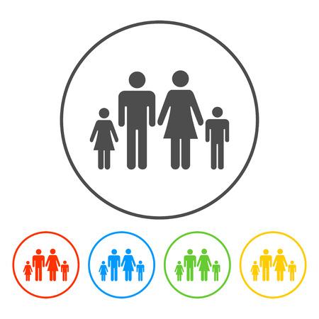 socialize: family icon. Flat design style eps 10 Illustration